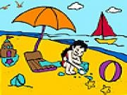 Jouer à Little girl in the beach coloring